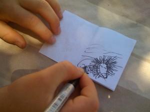 Luca's Bojabi lion drawing.