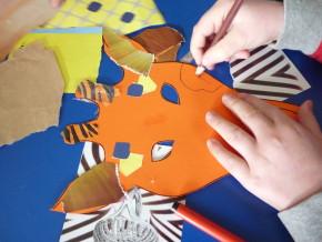 Making a Zeraffa mask at Pop Up Hackney.