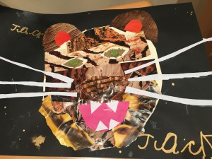 Jack turns Daddy into a TIGER with paper collage