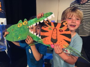 Making masks at the Omnibus Theatre